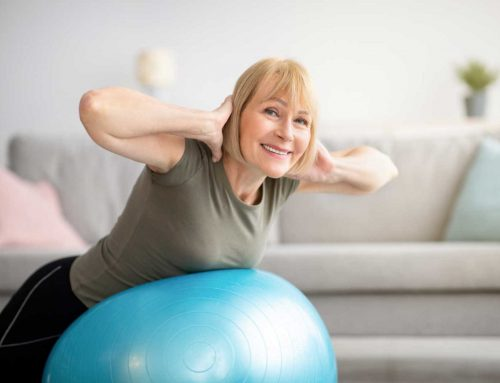 Low-impact exercise ball workout